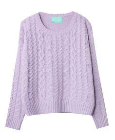 Vintage Round Neckline Cable- Knit Sweater