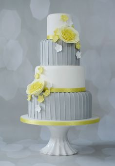 Grey, Yellow and White Wedding Cake