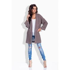 Stay warm and cozy with this relaxed cardigan that features cropped sleeves for just the right amount of coverage. Best Online Fashion Stores, Open Cardigan, Smart Casual, Stay Warm, Shawl, Evening Dresses, Duster Coat, Women Wear, Stylish