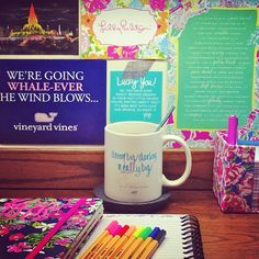 Vineyard vines and lily desk school supplies. What my desk should look like.