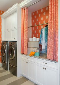 """Lucy Interior Design SaveEmail The mudroom also doubles as a well-outfitted laundry room; next to the machines is a clothes bay complete with a counter for folding and a rod for hanging. Coordinating orange curtains conceal any mess. """"Because of the curtains, the bay is also the perfect hideaway for their weekend cabin gear,"""" Lalley says."""