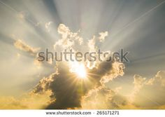 Beautiful Blurred Sunset Sky and Beams of sunligh Background