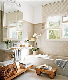 "dotandbo: "" Feng Shui: How to Make Your Home the Ultimate Happy Place We've all heard of the term feng shui, but what does it mean? While everyone can incorporate feng shui into their homes based on. Bathroom Styling, House Design, Feng Shui Bathroom, Mediterranean Style Homes, Home, Spa Style Bathroom, Dreams Spa, Small Farmhouse Bathroom, Bathroom Spa"