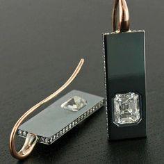 "@taffinjewelry's photo: ""Diamond, gun metal and rose gold ear pendants.  #custom-made_jewelry #taffin #taffinjewelry #jamesdegivenchy #sothebysdiamondsbyjamesdegivenchy #oneofakind"""