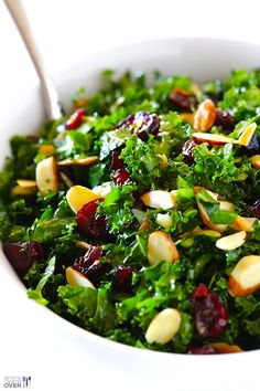 Kale salas with cranberries and nuts of choice with maple dressing.