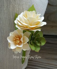 60 best paper flower corsages boutineers images on pinterest in paper flowers grooms boutonniere succulents ivory and gold wedding day wedding flowers bridal party mightylinksfo