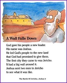 A Wall Falls Down (Jericho) - Kids Korner - BibleWise Bible Story Crafts, Bible Stories For Kids, Bible Crafts For Kids, Preschool Bible, Bible Activities, Preschool Lessons, Kids Bible, Toddler Bible, Children's Bible