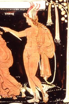 Painter of Louvre MNB 1148 (fl. c. 350 - 330 BCE), J. Paul Getty Museum, Malibu 86.AE.680 (c. 350-330 BCE). Red Figure loutrophoros (ritual vase). Side A: detail of Hypnos.