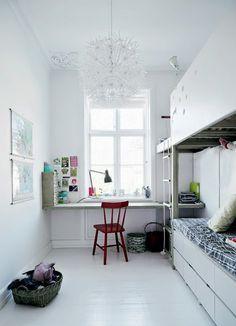 Bright white children's room.