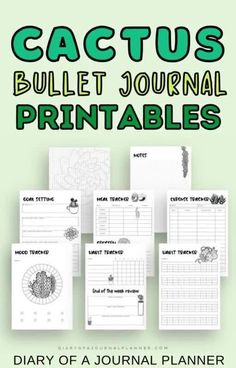 Get this super cute Cactus-themed bullet journal planner bundle to have your next month of bujo spreads sorted! #bulletjournalspreads #cactus #bujoprintables Daily Planner Pages, Printable Planner Pages, Templates Printable Free, Planner Template, Weekly Planner, Bullet Journal Printables, Bullet Journal Layout, Planner Sheets, Planner Inserts