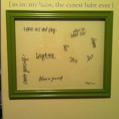 Inspiring words. Use an old frame and glass, rub on letters/words and enjoy! The shadows on the wall create neat effects.
