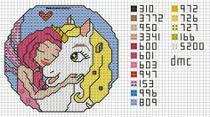 SCHEMA PUNTO CROCE MIA AND ME Le Point, Cross Stitch Designs, Knitting Patterns, Stitch Patterns, Fairy, Diagram, Kids Rugs, Crochet, Cross Stitching