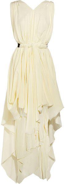 Vionnet Draped Silk Dress in White (ivory) - Lyst Silk Dress, Dress Skirt, Draped Dress, Toga Dress, Silk Skirt, Pretty Dresses, Beautiful Dresses, Long Dresses, Look Fashion