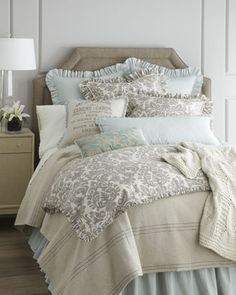 "Bedroom. Bedding: French Laundry Home ""Gray Damask"" Bed Linens - Horchow"