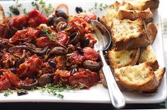 ROASTED TOMATOES and MUSHROOMS with GRILLED BREAD • Panning The Globe