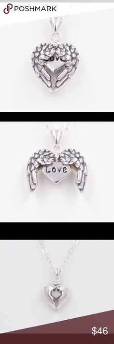 💦Angel Wing Love Heart Pendant Necklace 925 🍃 Open Angel Wing Love Heart Pendant With a hidden message (LOVE). A charmwithin a charm, just lift the message to reveal a silver heart with LOVE stamped in it. 925 Sterling Silver oxidized pendant & 925 Sterling Silver Cable Chain with lobster clasp. Pendant measures: 12.6mm x 15.9mm Beach City Vault Jewelry Necklaces