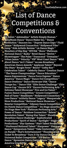 List of Dance Competitions & Conventions #dance #dancers #danceteachers