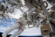 Hangout in Space NASA astronaut Drew Feustel seemingly hangs off the International Space Station while conducting a spacewalk on March 29 2018.