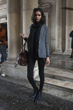 Black leggings or black trousers, grey jacket, black Doc shoes, scarf?
