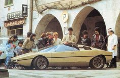 The fully operational 1974 Lamborghini Bravo P114 concept car designed by Marcello Gandini for Bertone draws a crowd