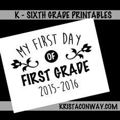 Printable back to school for kindergarten, first grade, second grade, third grade, fourth grade, fifth grade and sixth grade.