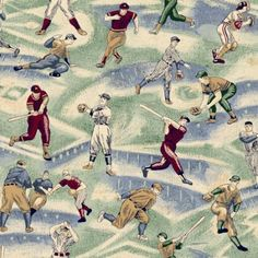 Baseball Fabric boys fabric vintage by the by goldhilldrygoods