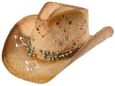 07c38f4db01 Scala Women s Tropical Trends By Dpc Beaded Band Straw Cowgirl Hat Tea One  Size Scala