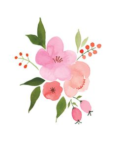 Floral water color art print. Pink and peach flowers.