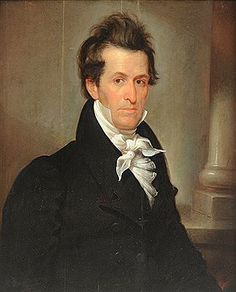 "Portrait said to be of Andrew Jackson by Frederick Spencer, but hair and eye color are inaccurate if it is Jackson. Another site suggests the painting is  attributed to Charles Bird King, circa 1819. this painting is most likely the ""unlocated"" portrait referenced in The Paintings of Charles Bird King (1785-1862) by Andrew J. Cosentino"