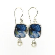 Broken China Jewelry Moonlight Roses Blue Sterling Earrings with Pearl