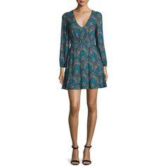 Alice + Olivia Cary Paisley V-Neck Minidress (1.790 ARS) ❤ liked on Polyvore featuring dresses, multi colors, short sleeve dress, v neckline dress, open back dresses, open back short dresses and plunging v neck dress