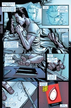 In Superior Spider-Man #7, Peter Parker tries to take control of Spider Ock's hand and language center.