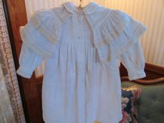 Antique Vtg Shawl Collar Edwardian Child's Coat White Heavy Cotton Silk Trims