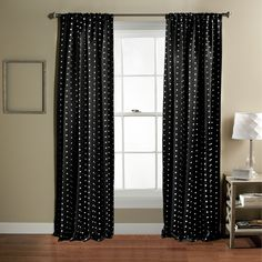 Lush Decor Polka Dot Blackout Curtain Panel Pair (Black), Size 84 Inches