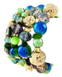 Stackable Green and Blue Shell and Faux Pearl Stretch Bracelet Set | PammyJ Fashions