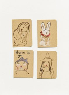 Hand painted cards  boobook , home is you, October ,and The White Rabbit. OOAK