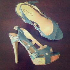 """Guess Strappy Platform Heels Platform heels in teal with gold studs. Strappy and cute. Worn only a couple of times, so they are in excellent condition. Real leather and has been treated with leather conditioner.                                                                                                                                    PayPal/Trades ✅ Offers ONLY considered using the """"Offer"""" feature  Discounts for Repeat Customers Guess Shoes Heels"""
