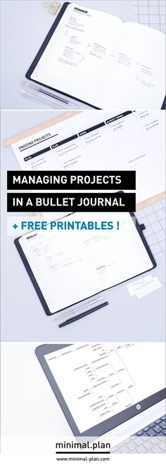 How to manage projects in a bullet journal? Here's my step by step planning process, and the tools I use in addition to my bullet journal! + Download some free printables to get you started! / Bullet journal ideas, bullet journal inspiration, project management, bullet journal list idea, minimal bullet journal, Kanban board, PM guide, bullet journal tutorial