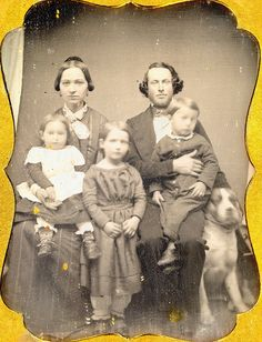Daguerreotype Family with dog