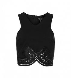 The unique detail on this crop will look magical with a high waisted black midi. // Pretty Lace Trim Crop Top in Black by Topshop