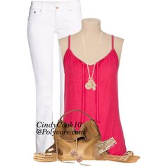 Pink and White, created by cindycook10 on Polyvore