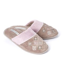 Look at this Stone & Dusty Mauve Geometric Slipper on #zulily today!