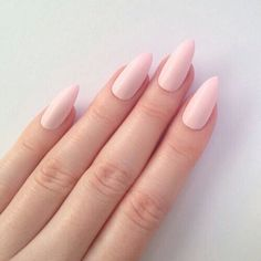 Cute wedding manicures you need. We're obsessed with these classy, almond shaped pale-pink nails!