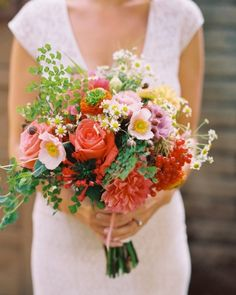 wildflower bouquet of red viburnum berries, daisy chamomile, maidenhair fern, ranunculus, boubardia, lisianthus, Juliet and Star 200 rosess and lavender Japanese anemones | photo: Jill Thomas | floral design: Twigg Botanicals www.twiggbotanicals.com