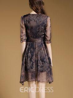 Ericdress A-Line Vintage Print Casual Dress Casual Dresses Cute Dresses, Casual Dresses, Short Dresses, Fashion Dresses, Girls Dresses, Formal Dresses, Floral Maxi Dress, Dress Skirt, Dress Up