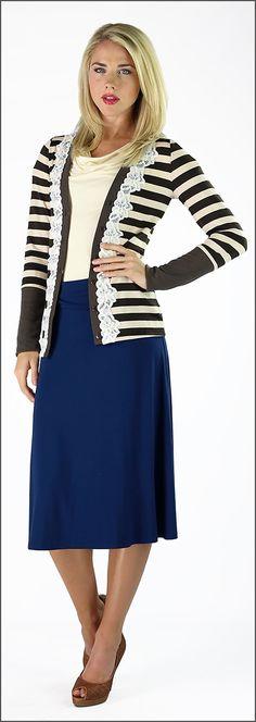 Knit Skirt Knee Length [2004-K] - $24.99 : Mikarose Fashion, Reinventing Modest Fashion