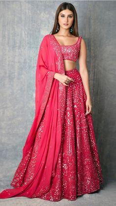 giving us major Wedding Outfit Goals with her Splendid Mirror work Pinkish Lehenga. Indian Gowns Dresses, Indian Fashion Dresses, Dress Indian Style, Indian Designer Outfits, Indian Lehenga, Lehenga Choli, Pink Lehenga, Bridal Lehenga, Indowestern Lehenga