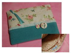 Bolsa Multiusos com Bolso (tecido e crochet)