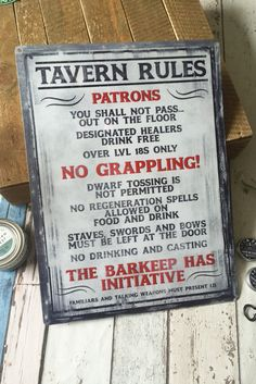 GAMETEE — TAVERN RULES - LARGE TIN SIGN