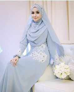 #AdoriaKieynaDress in grey Material: Heavy Chiffon Georgette with full sharmuse satin lining Harga: RM 599 (baju+shawl+veil) Cara tempahan? Whatsapp +6018-6665949